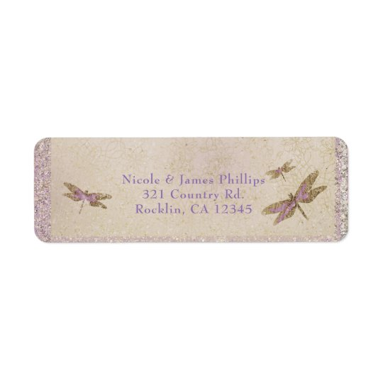 Purple & Gold Dragonflies Dragonfly Invitation Return Address Label