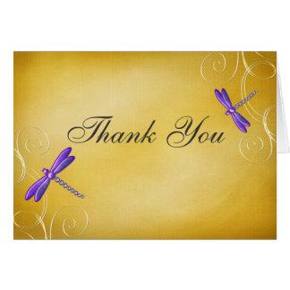 Purple Gold Dragonfly Swirls Thank You Card