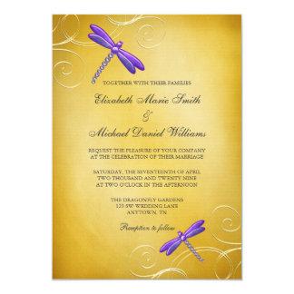 Purple Gold Dragonfly Swirls Wedding 13 Cm X 18 Cm Invitation Card