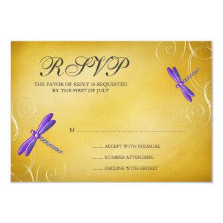 Purple Gold Dragonfly Swirls Wedding Response Card