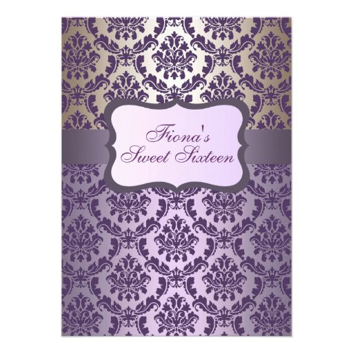 Purple & Gold Elegant Damask Birthday Invite