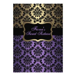 Purple Gold Elegant Damask Birthday Invite