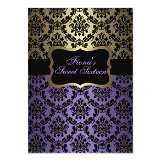 "Purple & Gold Elegant Damask Birthday Invite 4.5"" X 6.25"" Invitation Card"