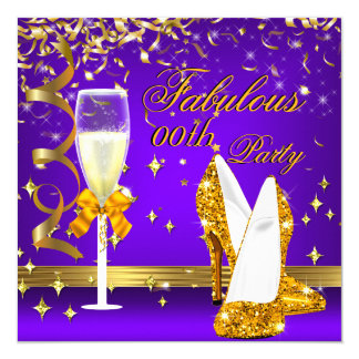 Purple Gold Fabulous Champagne Heels Birthday 13 Cm X 13 Cm Square Invitation Card