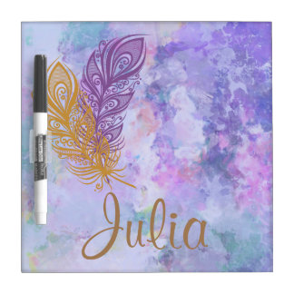 Purple & Gold Feathers Watercolor Fantasy Dry Erase Board
