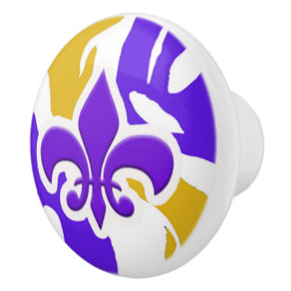 Purple & Gold Fleur de Lis Door Knob