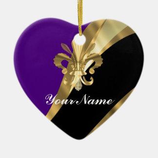 Purple & gold fleur de lys christmas ornament