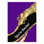 Purple & gold fleur de lys invitation