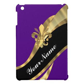 Purple & gold fleur de lys iPad mini case