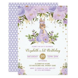 Purple Gold Floral Bunny Birthday Invite Woodland