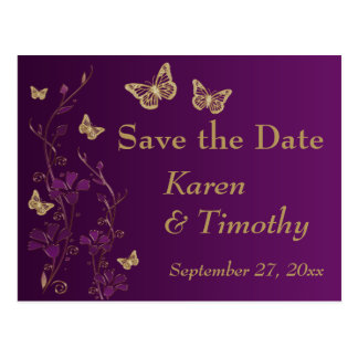 Purple, Gold Floral, Butterflies Save the Date Postcard