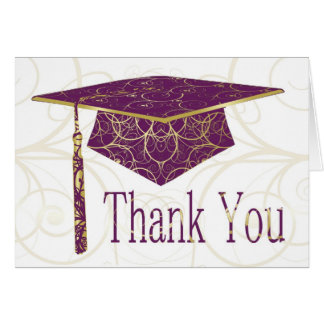 Purple & Gold Floral Cap Thank You Card