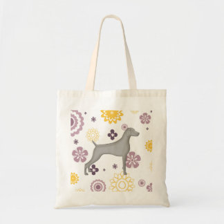 Purple & Gold Floral Gray Weimaraner Tote