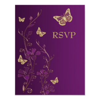 Purple, Gold Floral with Butterflies Reply Card 11 Cm X 14 Cm Invitation Card