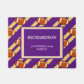 Purple Gold Football  Pattern Doormat