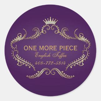 Purple & Gold Frame & Crown Glitter Texture Round Sticker