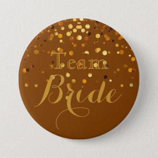 Purple Gold Glitter Faux Foil Wedding Team Bride 7.5 Cm Round Badge