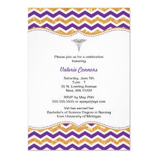 Purple & Gold Glitter Nurse Graduation RN BSN 13 Cm X 18 Cm Invitation Card