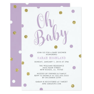Purple & Gold Glitter Oh Baby Shower Card