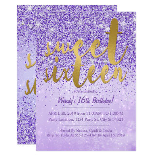 Purple & Gold Glitter Sweet 16 Party Invitations