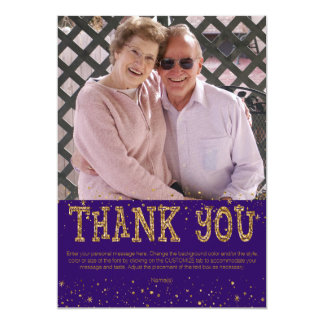 Purple & Gold Glitter THANK YOU--handwrite on back Card