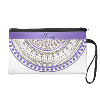 Purple Gold Half Mandala on Any Color Wristlet