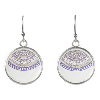 Purple Gold Half Mandala on White or Any Color Earrings