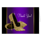 Purple Gold High Heel Shoes Thank You Card
