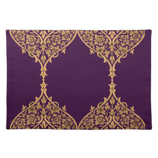 Purple Gold India Motif Design Decoration Filigree Placemat