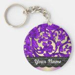 Purple & gold lace damask basic round button key ring