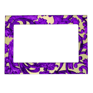 Purple & gold lace damask magnetic picture frame