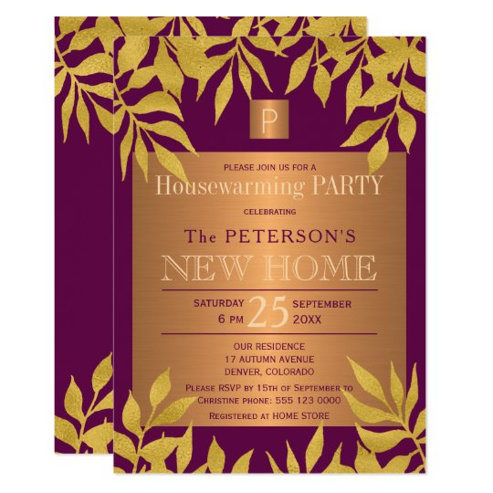 Purple gold leaves monogrammed housewarming party card