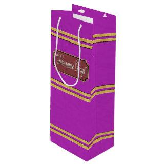 Purple Gold Lines Wine Gift Bag