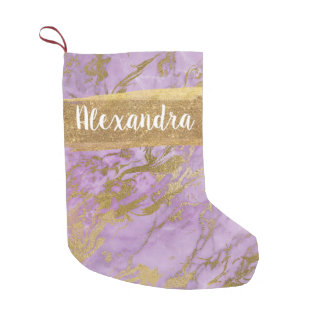 Purple & Gold Marble Glitter and Sparkle Monogram Small Christmas Stocking
