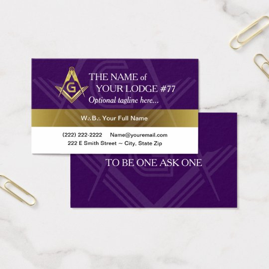 Purple Gold Masonic Business Cards | Triangle Dots