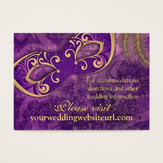 Purple Gold Masquerade Ball Wedding Website Business Card