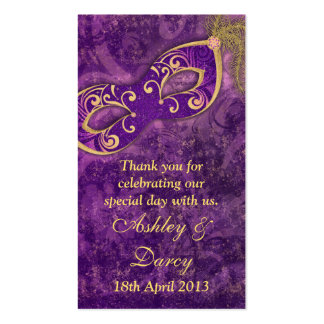 Purple Gold Masquerade Wedding Favour Tags Business Cards