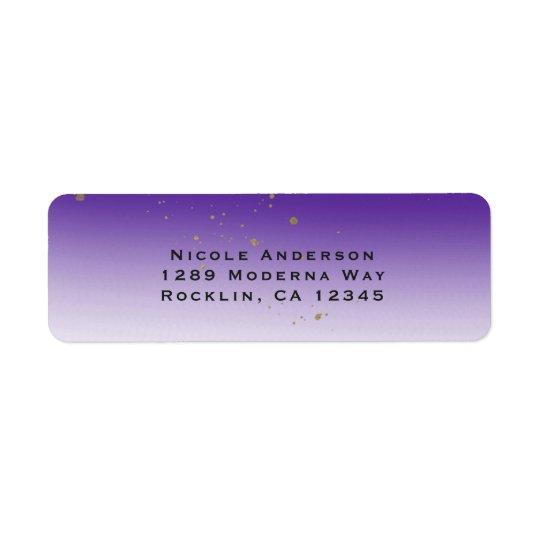 Purple & Gold Modern Glam Bridal Shower Party Return Address Label
