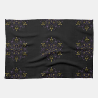 Purple & Gold Passion Flames of Silk Tea Towel