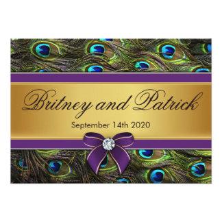 Purple Gold Peacock Feather Wedding Invitations
