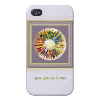 Purple Gold Pearl Leaves Trendy  Covers For iPhone 4