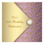 Purple Gold Pearl Womans 50th Birthday Party Personalized Invites