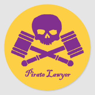Purple & Gold Pirate Lawyer Sticker w/ Border