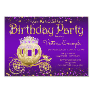Purple Gold Princess Birthday Party 13 Cm X 18 Cm Invitation Card