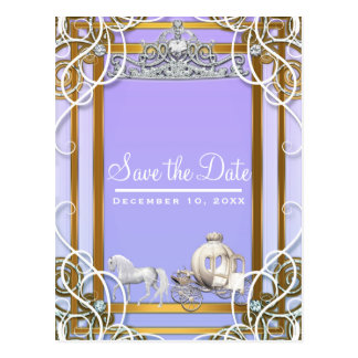 Purple Gold Princess Crown Carriage Save the Date Postcard