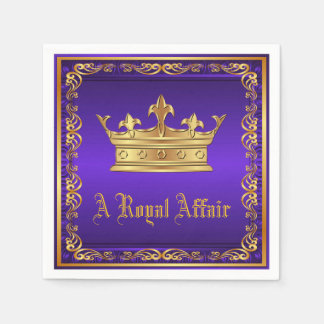Purple Gold Royal Crown Royal Party Event Disposable Napkin