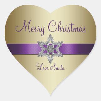 Purple Gold Snowflake Merry Christmas Sticker