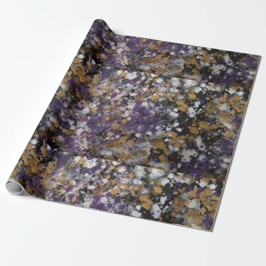 Purple & Gold Splatter Wrapping Paper