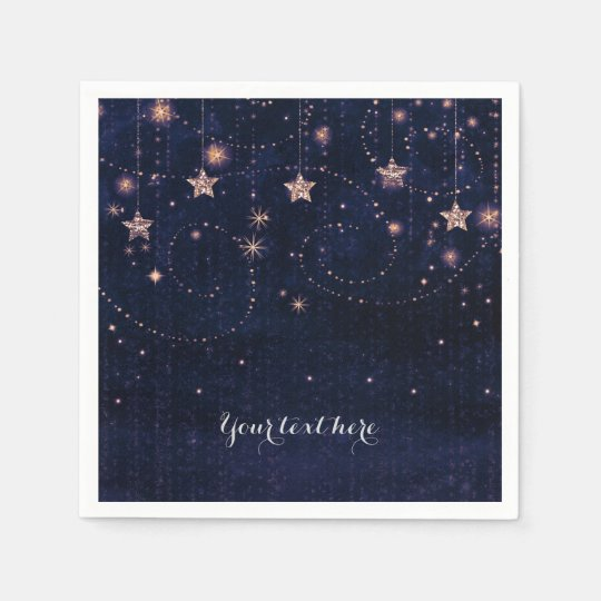 Purple & Gold Starry Celestial Whimsical Party Disposable Serviette