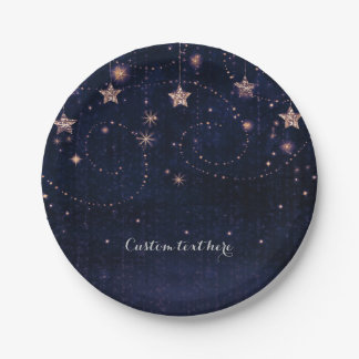 Purple & Gold Starry Celestial Whimsical Party Paper Plate